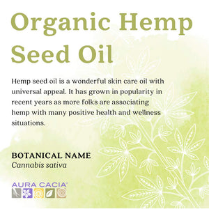 Aura Cacia Organic Hemp Seed Oil, 118 ml