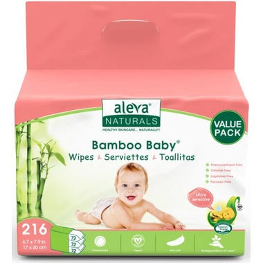 Aleva Naturals Bamboo Baby Wipes Sensitive Value Pack