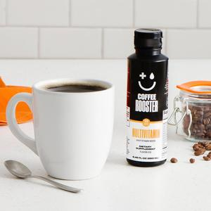 Coffee Booster Multivitamin and black coffee