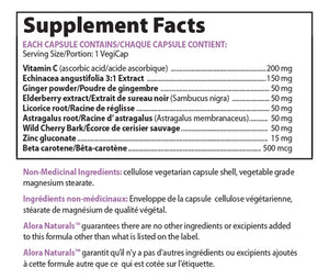 Supplement Facts about Alora Naturals Cold & Flu Relief - 615 mg, 90 Caps