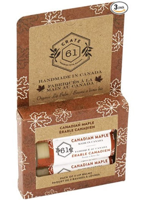 Crate 61 Organics Canadian Maple Lip Balm - Pack of 3