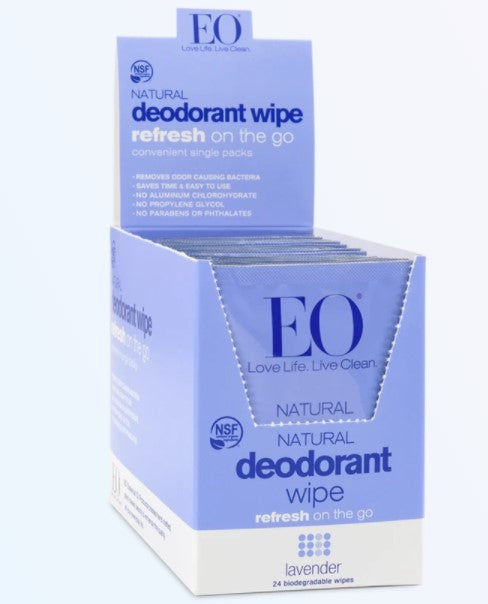 EO Products Natural Deodorant Wipes - Lavender, 24 ct