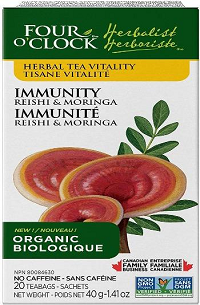 Four O'Clock  Immunity Reishi & Moringa Herbal Tea, 6x20 Bags