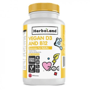 Herbaland Gummy for Adults: Vegan D3 & B12, 90 Gummies