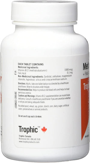 Ingredients - Trophic Methyl B12 with Folic Acid, 90 Tabs