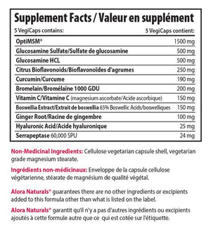Supplement facts for Alora Naturals Joint Recovery Capsules, 180 Caps