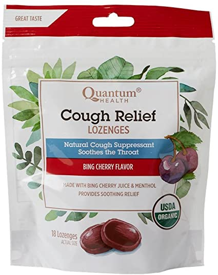 Quantum Health Cough Relief Bing Cherry Lozenges, 18 Counts