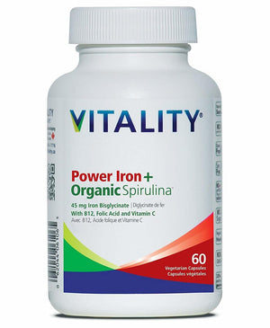 Vitality Products Power Iron+Organic Spirulina, 60 vcap