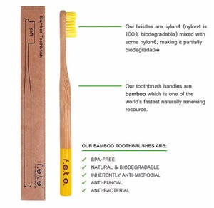 f.e.t.e. Bamboo Toothbrush Family Pack of 4