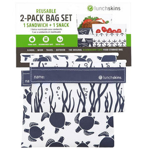 Lunchskins Reusable Bag Set, Velcro Turtle - Pack of 2