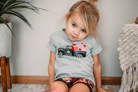 Vintage truck with hearts shirt for children