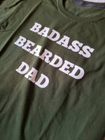 Badass Bearded Dad black tshirt Funny Fathers Day T-Shirt Custom Father's Day shirt Personalized Fathers Day Custom Dad