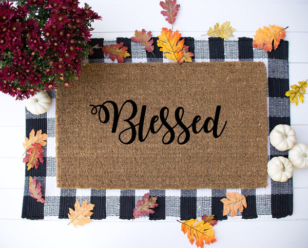Blessed doormat / Welcome mat / Hand painted entrance mat / Country Chic Home Decor / Farmhouse style mat / Southern Housewarming Gift