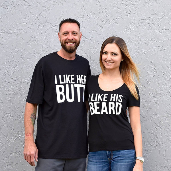 I Like her Butt, I like His Beard couples engagement shirts