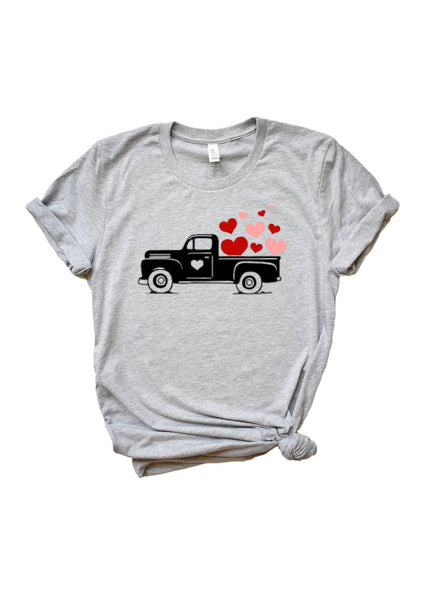 Vintage truck with hearts tshirt for Valentine's Day