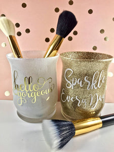 Hello Gorgeous, Sparkle Every Day set of 2 glitter makeup jar holders