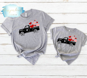 Vintage truck with hearts Mommy and Me Shirts, Mommy and Me Valentine Shirts, Mom and Daughter Shirts, Mom and Son, Matching Outfits, Family