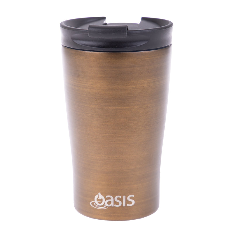 Oasis S/S Insulated Double Wall Travel Cup Gold Swirl 8914GS