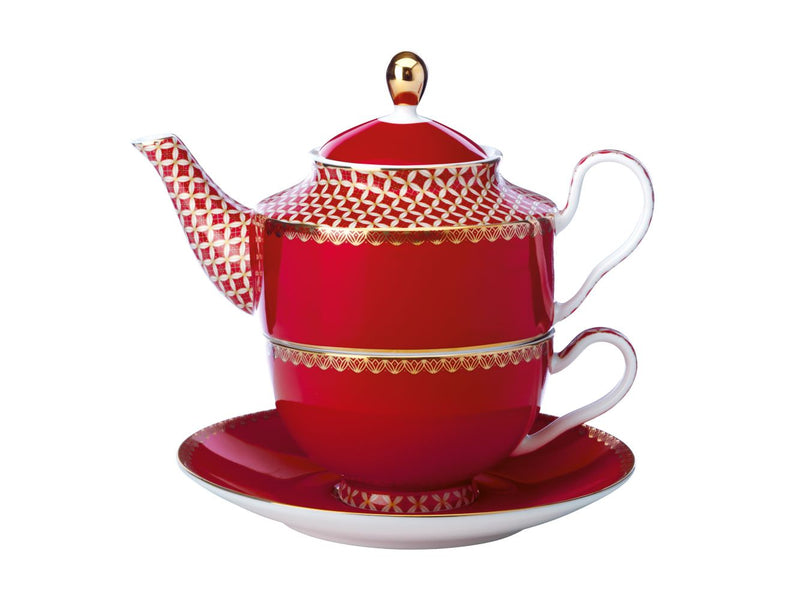 MW Teas and Cs Classic Tea for One with Infuser 380ml Cherry Red Gift Boxed HV0201