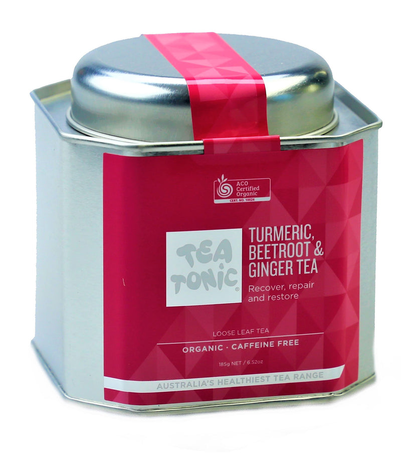Tea Tonic Caddy Tin Turmeric Beetroot Ginger Tea 145g Organic TBTT