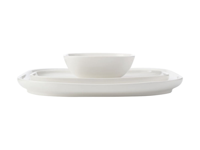 MW White Basics Square Platter with Rectangular Platter & Bowl Gift Boxed AW0393