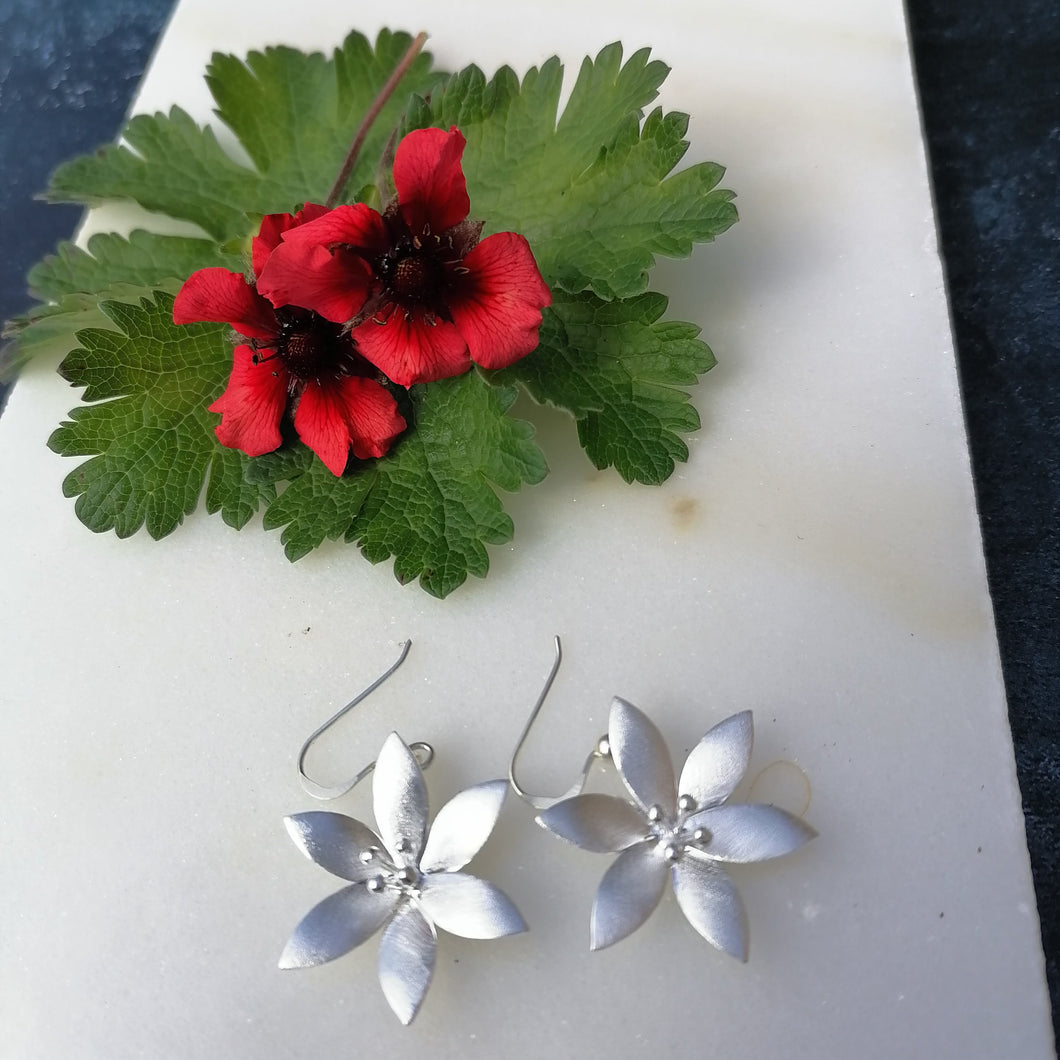 Brushed Sterling Silver Flower Drop Earrings