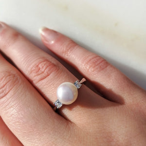 Classic Pearl and Zircon Ring