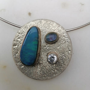 Sterling Silver and  Austrailian Opal Necklace