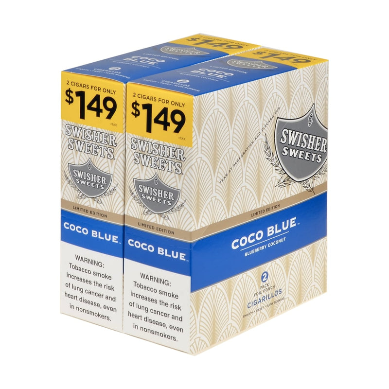 Swisher Sweets Cigarillos 1.49 Pre Priced 30 Pouches of 2 Coco blue