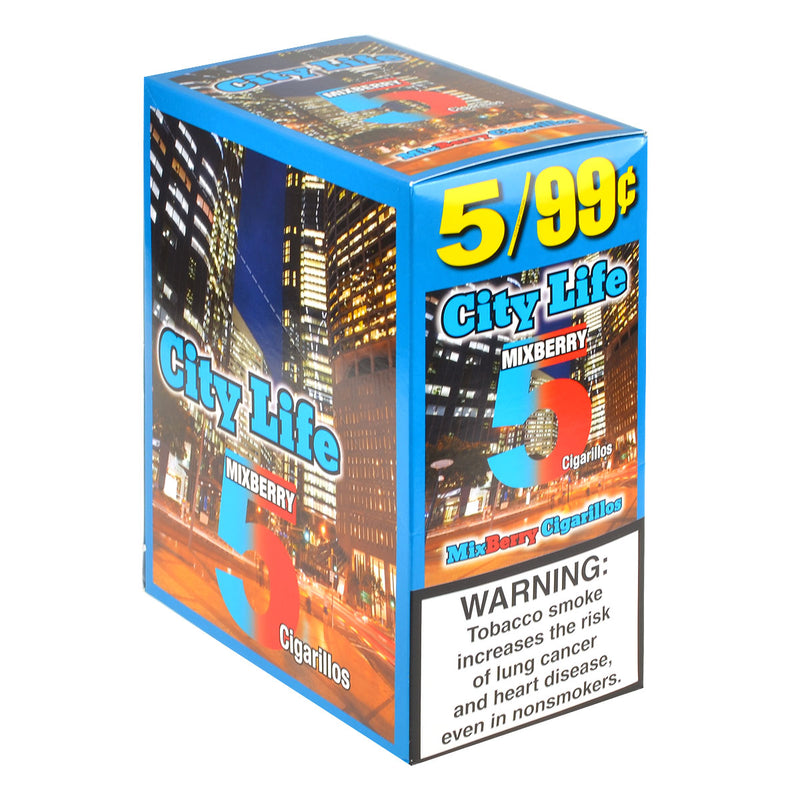 City Life Cigarillos 5 for 99 Cents Mixed Berry 15 Packs of 5