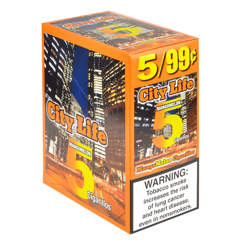 City Life Cigarillos 5 for 99 Cents Mango Melon 15 Packs of 5