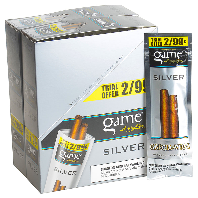 Game Vega Cigarillos Silver Foil 2 for 99 Cents 30 Pouches of 2