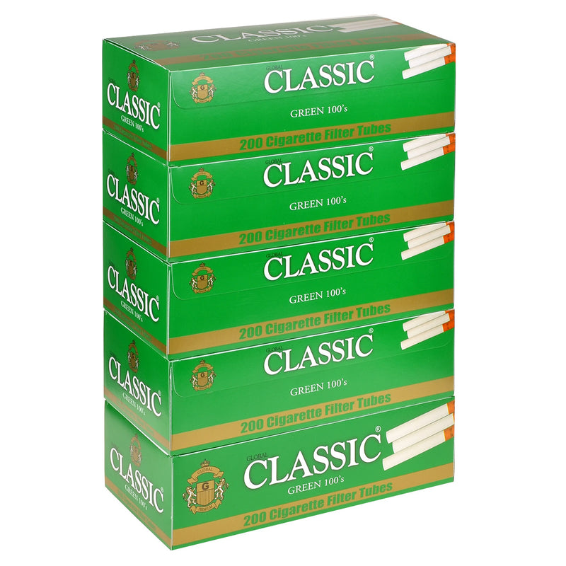 Classic Filter Tubes 100mm Menthol (Green) 5 Cartons of 200