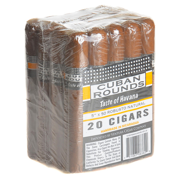 Cuban Rounds Robusto Natural Cigars Pack of 20