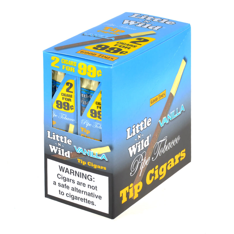 Good Times Little n Wild Pipe Tobacco Tip Cigars Vanilla 20 Pouches of 2