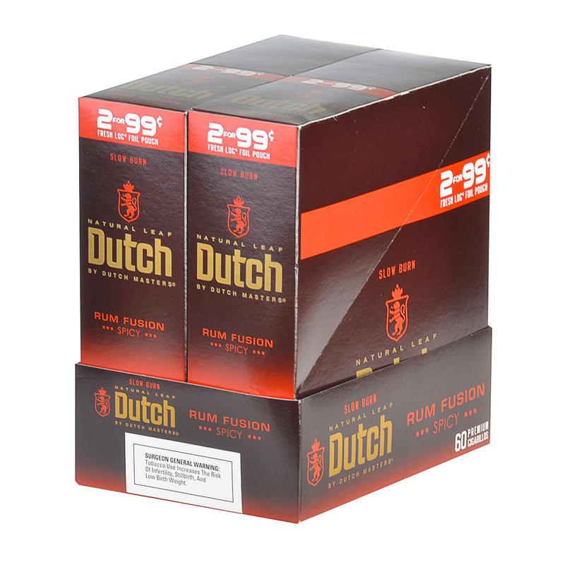 Dutch Masters Foil Fresh Rum Fusion 99 Cent Cigarillos 30 Packs of 2