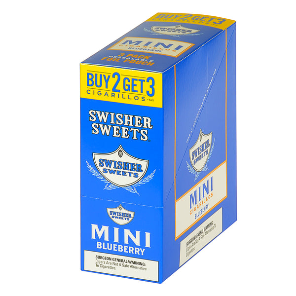 Swisher Sweets Mini Cigarillos 3 for 2 Blueberry 15 Pouches of 3
