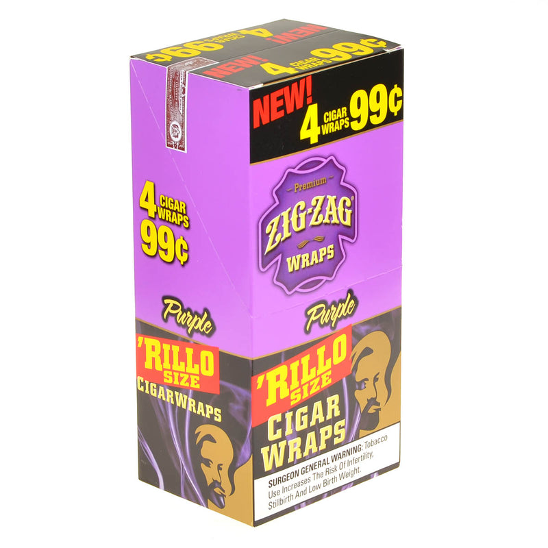 Zig Zag Rillo Size Cigar Wraps 4 for 99 Cents 15 Pouches of 4 Purple
