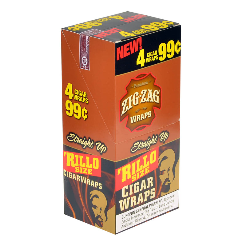 Zig Zag Rillo Size Cigar Wraps 4 for 99 Cents 15 Pouches of 4 Straight
