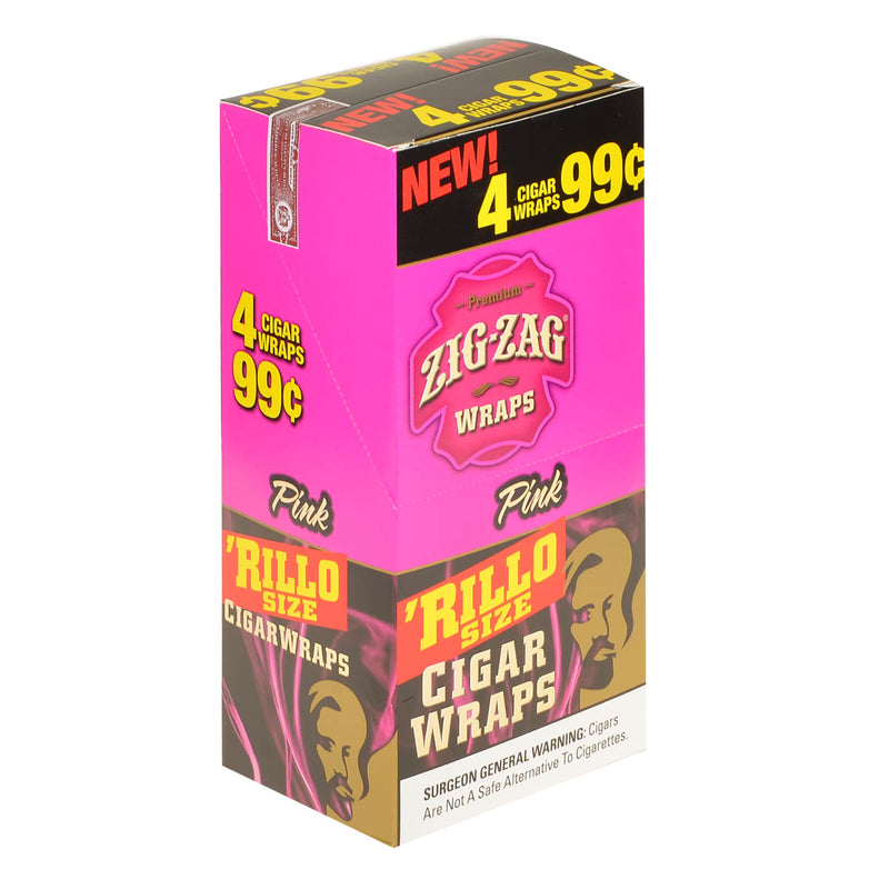 Zig Zag Rillo Size Cigar Wraps 4 for 99 Cents 15 Pouches of 4 Pink