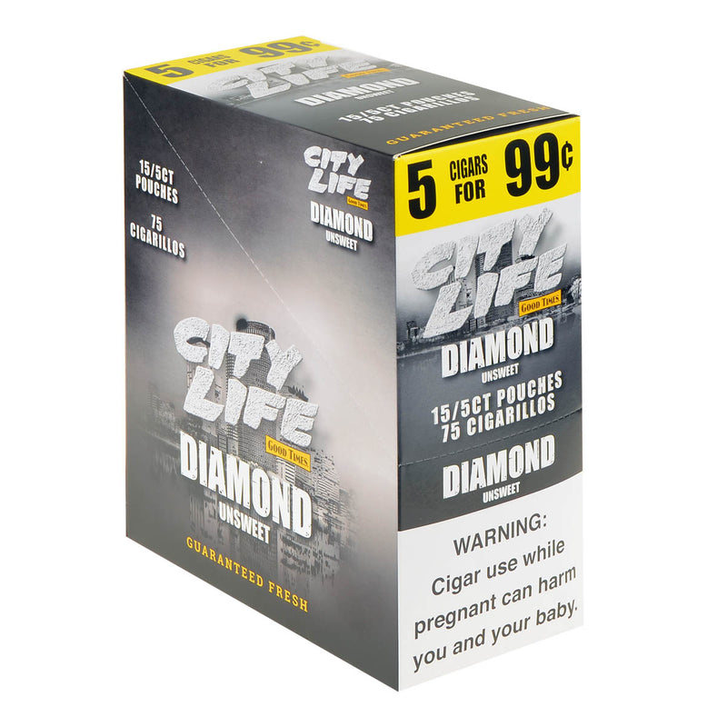 City Life Cigarillos 5 for 99 Cents Diamond 15 Packs of 5