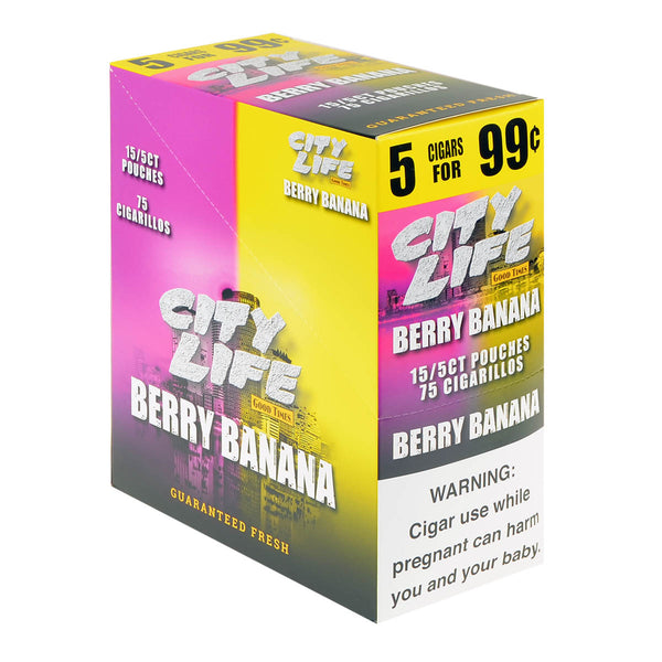 City Life Cigarillos 5 for 99 Cents Berry Banana 15 Packs of 5