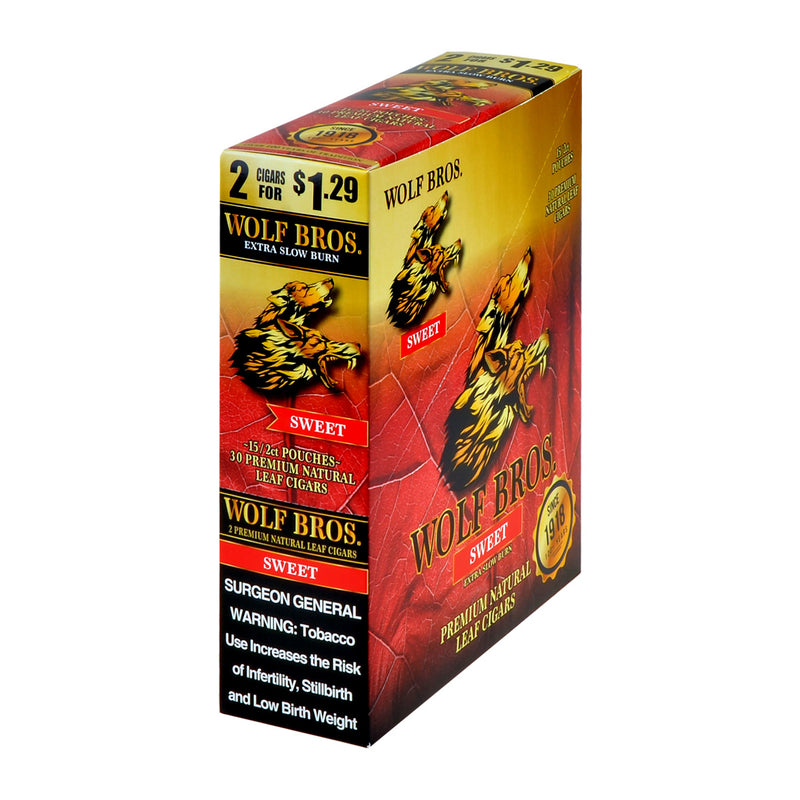 Wolf Bros 2 For 1.29 Cigarillos 15 Packs of 2 Cigars Sweet