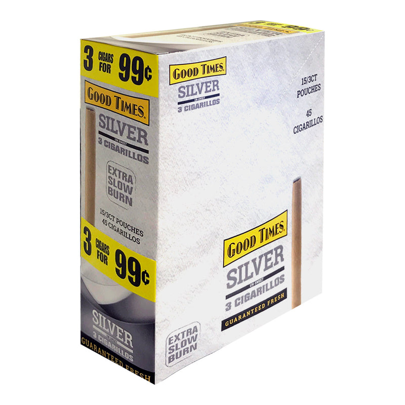Good Times Cigarillos Silver 3 for 99 Cents Pre Priced 15 Packs of 3
