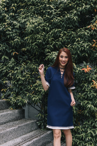 Alicia Tan in the Arcene Lace-up Detail Shift Dress in Navy Blue