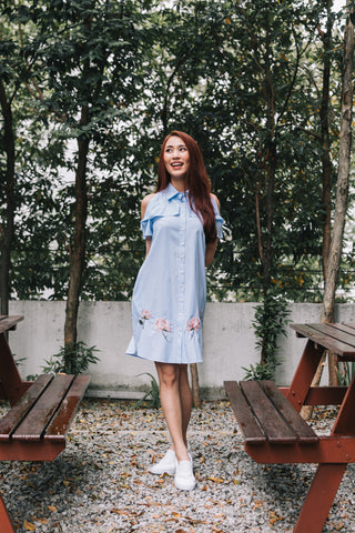 Alicia Tan in the Demelza Cold Shoulder Shift Dress with Floral Embroidery in Pinstripes