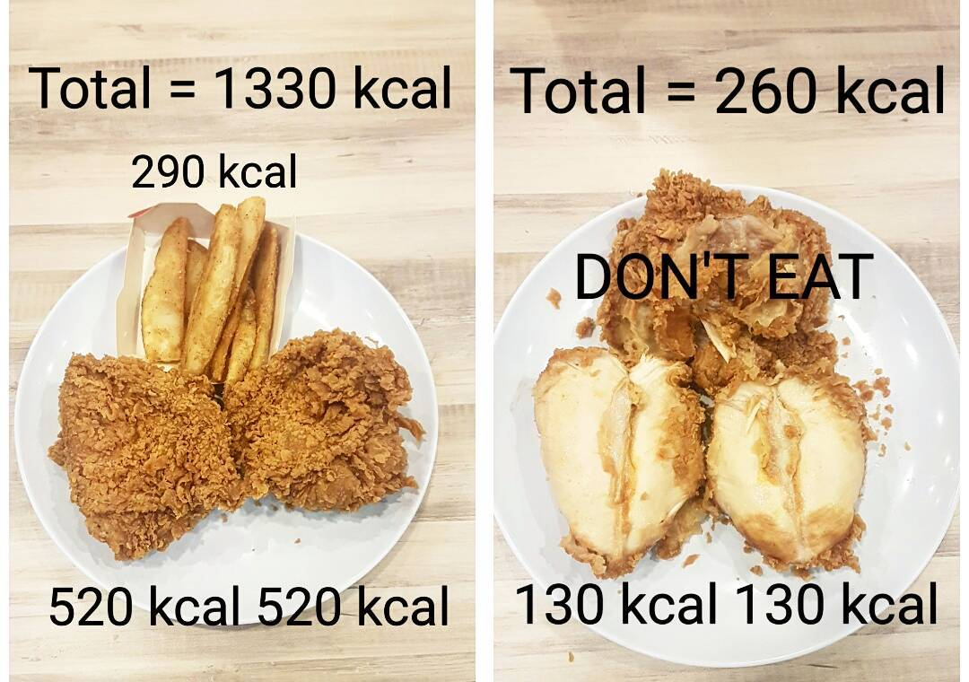 KFC Chicken Breast Calories With Versus Without Skin