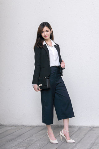 Blazer White Collared Shirt Culottes For Work