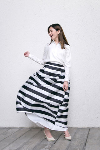 Maxi Skirt Stripes White Collared Shirt Button Down Dinner