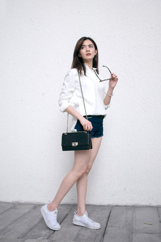 Denim Shorts White Collared Shirt Button Down Casual